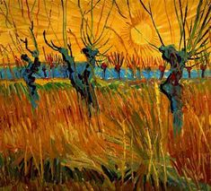 Vincent van Gogh: Willows at Sunset. Oil on cardboard. Arles: Autumn, 1888. Otterlo: Kroller-Muller Museum.