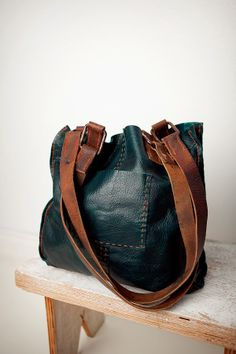 Leather tote - teal with re- purposed horse tack handles