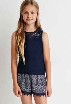 Crochet-Trimmed Tile Print Shorts (Kids) | Forever 21 girls  | #f21kids