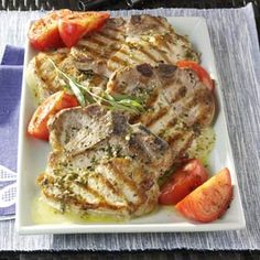 Provolone-stuffed Pork Chops with Tarragon Vinaigrette Recipe    Absolutely delicious. Had it for dinner today. Had to use Herbs de Provence instead of tarragon. If you don't have Provolone you can substitute another quality Italian cheese.