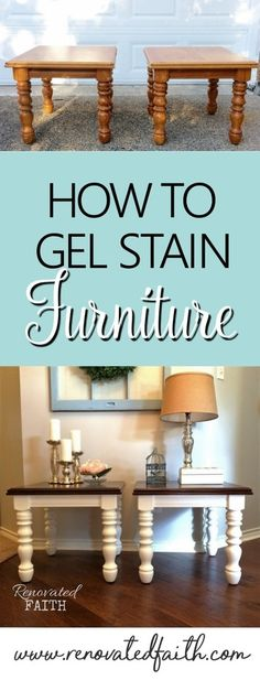 How To Gel Stain Wood Furniture - Easy Stain Over Paint Technique! Never use furniture stripper again! With this easy stain over stain technique, I share how to stain any surface and even how to gel stain over paint! Gel Stain Furniture, Furniture Projects, Furniture Making, Furniture Makeover, Furniture Refinishing, Wood Projects, Homemade Furniture, Furniture Cleaning, Furniture Removal
