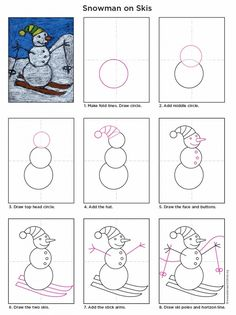How to draw a snowman on skis - zeichnen werken Classroom Art Projects, School Art Projects, Art Classroom, Drawing Lessons, Art Lessons, Art 2nd Grade, Drawing For Kids, Art For Kids, Drawing Drawing