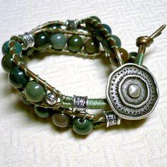 Fancy Green Jasper and Antique Brass Leather Bohemian Wrap Bracelet | KatsAllThat - Jewelry on ArtFire