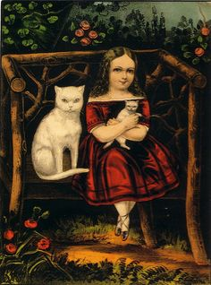 The Little Pets - girl with white cats | Hand-colored lithograph, 1857–1907 | Currier & Ives