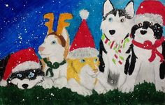 Husky Christmas Card by LamoniWolf on DeviantArt Husky, Christmas Cards, Snoopy, Pastel, Deviantart, Drawings, Pictures, Fictional Characters, Christmas E Cards