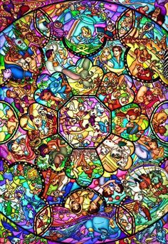 Disney Characters Stained Glass | Disney Collage