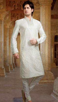 Beautiful Indian White Poly Jacquard Kurta