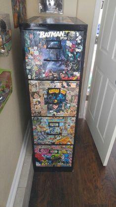 $15 Craigslist file cabinet and $1 comic books