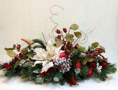 White Poinsettia CHRISTMAS CENTERPIECE, Christmas Decor, Christmas Table Décor, Christmas Silk Flower Arrangement, Holiday Arrangement