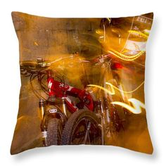 Bikes in San Miguel Throw Pillow by Cathy Anderson