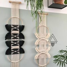 Intricately handwoven, this macrame wall tapestry is both unique and eye-catching. Available in black and white, the threads are woven in a perpendicularpattern to create contrasting textures in the design and angular shapes, with 3 wooden rings at the centerpiece of the design. If you are a lover of macrame tapestr