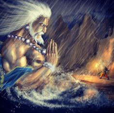 Raama aiming the arrow at Saagara when he doesn't allow them to build a bridge across the ocean to reach Lanka.