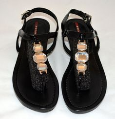Prada Women black leather Jeweled Thong Sandals Shoes size EUR 40 - US 10Wedged heel is about 1.5 inches in the back.  Nice casual a