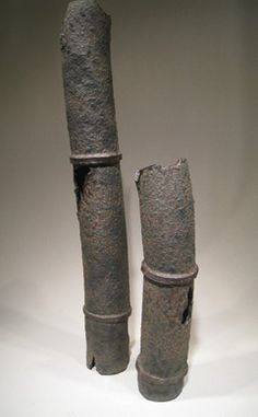 Corroded Pipe Set - the glaze on these makes them look like they've been through a lot. A great sort of industrial ikebana container. See the closeup for more detail.