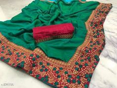 Embroidered Lace Border Sana Silk Sarees from Stf Store Art Silk Sarees, Silk Sarees Online, Embroidery Saree, Latest Sarees, Lace Border, Party Wear Sarees, Saree Styles, Green Silk, Embroidered Blouse