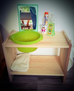 DIY washbasin from IKEA shelf - so your toddler can wash himself . - DIY wash basin from IKEA shelf – so your toddler can wash himself and brush his teeth. Ikea Montessori, Montessori Toddler, Montessori Bedroom, Montessori Education, Maria Montessori, Montessori Activities, Toddler Play, Diy Wash Basins, Lavabo Diy