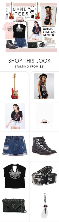 """""""I'm With the Band: Band T-Shirts"""" by gabree ❤ liked on Polyvore featuring ESPRIT, Kiss The Sky, Better Be, Zadig & Voltaire, Givenchy, Yves Saint Laurent and Fendi"""