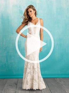 Allure Style: 9316 This slim-fitting sheath features high-contrast lacework, along with a dramatic open back.  Fabric:Lace and Satin Size:2 - 32 Color:White/Silver, Ivory/Silver, Café/Ivory/Silver