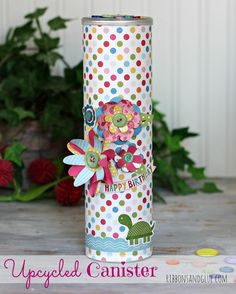 Upcycled Containers for Dad - Ribbons & Glue