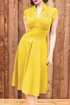 Vintage V Neck Short Sleeve Pure Color Women's Midi Dress Vintage Dresses   RoseGal.com Mobile