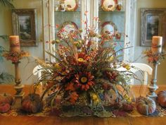 fall floral arrangements sunflower table autumn faux dahlias vase filled with pinecones makes perfect tabletop Fall Dining Table, Fall Floral Arrangements, Autumn Decorating, Decorating Tips, Thanksgiving Decorations, Thanksgiving Ideas, Harvest Decorations, Stage Decorations, Seasonal Decor