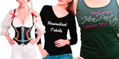 Shop for unique personalised hen party t shirts and stag party t shirts at Celebrate It. Make your hen night extra special with these custom printed t-shirts. Hen Party Accessories, Hens Night, Personalized T Shirts, Ireland, Crop Tops, Celebrities, Shopping, Women, Fashion