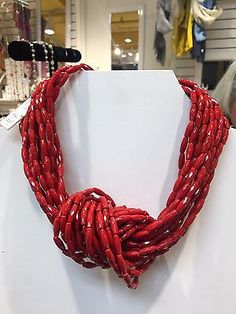 Angela Caputi Italy Red Knot Necklace NWT