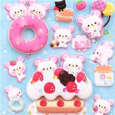 kawaii candy bear donut & macaron sponge stickers from  Japan 1