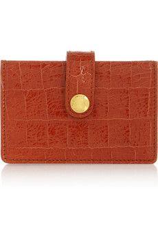 Miu Miu   Croc-effect glossed-leather cardholder
