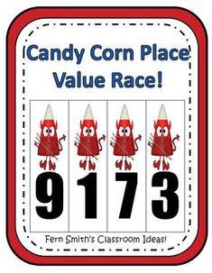 Fern Smith's Halloween Candy Corn Place Value Race Game! #Math #Teacher www.FernSmithsClassroomIdeas.com
