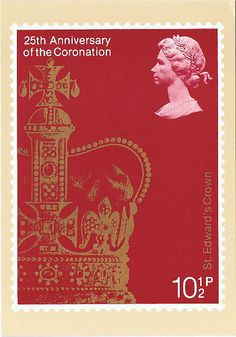 GB_124453_PHQ_25th_Anniversary of the Coronation 25th Anniversary of the Coronation of Queen Elizabeth II - St. Edward's Crown Reproduced from a stamp designed by Jeffery Matthews MSIAD and issued by the Post Office on 31 May 1978. PHQ Cards are postcards depicting the design of a commemorative stamp issued by the British Post Office. en.wikipedia.org/wiki/PHQ_Cards Sent to Spain, 2 March 2010
