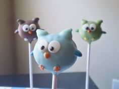 Owl Cake Pops! So cute...I want to make these for the shower!