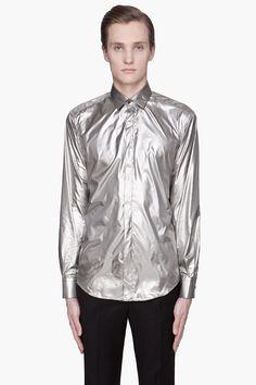 LANVIN Metallic silver foil shirt