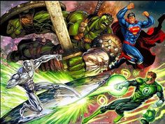 WORLD WAR HULK & SILVER SURFER  SUPERMAN & GREEN LANTERN  Which bloodlust team wins this in your opinion  #thanos #marvel #dc #crossover #anime #comics #comiccon #cosplay #hulk #superman #epic #starwars #xbox #playstation #thewalkingdead #sick #civilwar #mma #fight #tbt #power #dccomics #marvelcomics #tagsforlikes by devilzsmile.com #devilzsmile