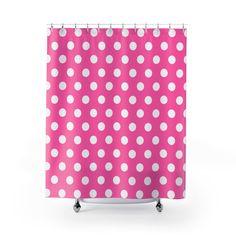 HOT PINK POLKA Dots Shower Curtain Girls Bathroom Decor