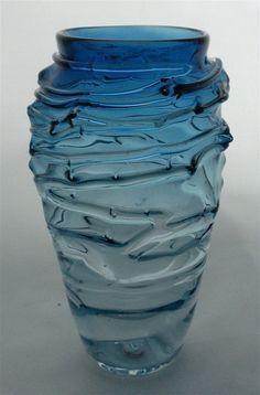 Texture vase, hand blown glass, free hand sculpted, sculpture, smoke blue vase, tansparent, optics, shadows, texture