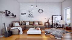 des murs en brique blanche et un canapé beige dans le salon moderne