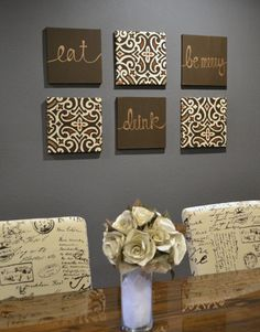 Eat Drink Be Merry Wall Art Pack of 6 Canvas by GoldenPaisley