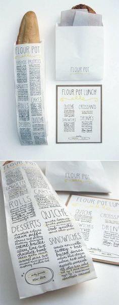 Hand written type on paper bags.
