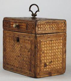 Rare Napoleonic Prisoner of War Straw Work Single Compartment Tea Caddy ca.1800