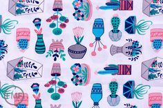 What a Gem Succulents in White Allison Cole by FreshModernFabric