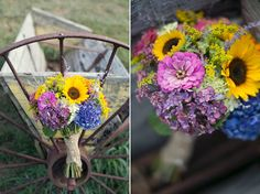 Sunflower and hydrangea wedding bouquets. Taken at Hallockville Museum Farm,  Photo courtesy of Alexis Stein Photography. https://www.facebook.com/AlexisSteinPhoto