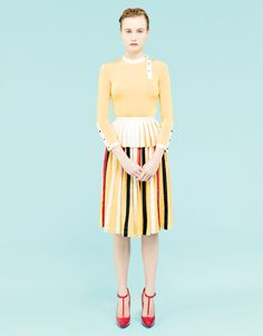 Smile: Charlotte Di Calypso in Vogue Turkey May 2011 Dress Skirt, Midi Skirt, Librarian Chic, Model Face, Yellow Stripes, Cut And Color, Modest Fashion, Editorial Fashion, Supermodels