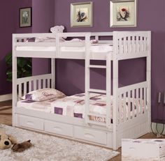 The Perfect Bunk Bed for your little girls room. White Bunk Beds Twin Over Twin -- kfsstores.com