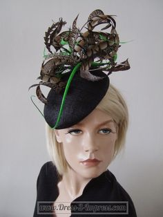 """Black Green and Brown Amherst Pheasant Feathered Beret Headpiece Hat - """"Emily"""" - 185"""