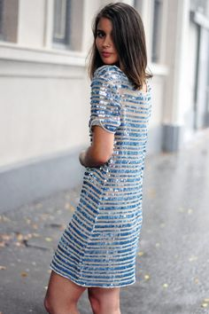 Sequin-stripe dress for a day or night time glam #StreetStyle