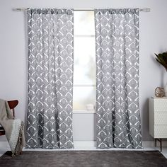 Cotton Canvas Fleur Printed Curtain - Stonewhite | west elm