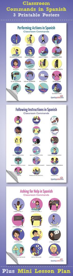 Free 3 Spanish Classroom Commands printable posters and 50 signs plus two additional materials for Spanish Teachers to use during the beginning of the year. Download free materials: Classroom Commands in Spanish Mini Lesson Plan, First Day of School Student Survey, Spanish Class Procedures Booklet. Los mandatos de la clase.
