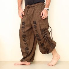 Cotton Harem Pants Men OM. Buy Cheap Yoga Pants. We ship worldwide. #yogapants #yoga #namaste