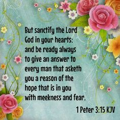"""But sanctify the Lord God in your hearts: and be ready always to give an answer to every man that asketh you a reason of the hope that is in you with meekness and fear:"" 1 Peter 3:15 KJV"